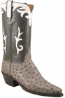 Ladies Lucchese Classics Serpentine Grey Quill Ostrich Custom Hand-Made Western Boots L4640