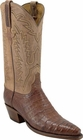 Ladies Lucchese Classics Tan Burnished Caiman Crocodile Custom Hand-Made Western Boots L4106