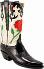 Ladies Lucchese Vintage Classics Black Buffalo Custom Hand-Made Cowgirl Boots L7033