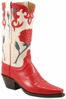 Ladies Lucchese Vintage Classics Red & White Goat Custom Hand-Made Cowgirl Boots L7047