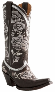 Lucchese Ladies Floral Torero Espresso Embroidered Leather Cowgirl Boots M4856
