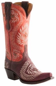 Lucchese Ladies Ornament Leaf Julius Caesar Red Wine Embroidered Cowgirl Boots M4837