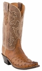 "Women's Lucchese ""Augusta"" Tan Burnished Full Quill Ostrich Boots M5603"