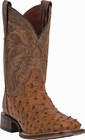 "Men's Dan Post ""Alamosa"" Saddle Tan Mad Dog Full Quill Ostrich Cowboy Certified Boot DP3876"