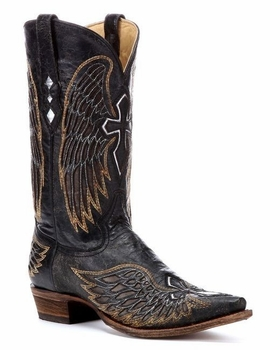 Mens Corral Black-Gold-Silver Wing and Cross Boots A1962