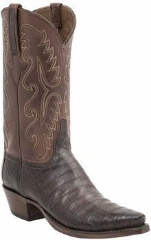 Mens Lucchese Classics Barrel Brown Ultra Belly Caiman Hand-Made Cowboy Boots E2197