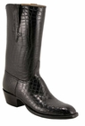 Mens Lucchese Classics Black Alligator Belly Custom Hand-Made Cowboy Boots L1067