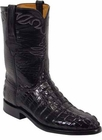 Mens Lucchese Classics Black American Alligator Tail Custom Hand-Made Roper Boots L3013