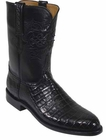 Mens Lucchese Classics Black Caiman Crocodile Belly Custom Hand-Made Roper Boots L3133