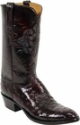 Mens Lucchese Classics Black Cherry Full Quill Ostrich Custom Hand-Made Cowboy Boots L1182