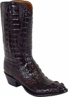 Mens Lucchese Classics Black Cherry Hornback American Alligator Custom Hand-Made Cowboy Boots L1000