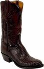 Mens Lucchese Classics Black Cherry Lizard Custom Hand-Made Cowboy Boots L1207