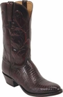 Mens Lucchese Classics Black Cherry Lizard Custom Hand-Made Cowboy Boots L1215