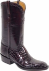 Mens Lucchese Classics Black Cherry Nile Crocodile Belly Custom Hand-Made Cowboy Boots L1258
