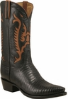 Mens Lucchese Classics Black Lizard Custom Hand-Made Cowboy Boots L1375