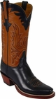 Mens Lucchese Classics Black Oil Calf Double Leather Sole Custom Hand-Made Cowboy Boots L1589