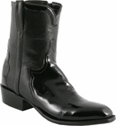 Mens Lucchese Classics Black Patent Calf Custom Hand-Made San Antonio Dress Collection Pony Boots F5056