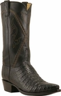 Mens Lucchese Classics Black Silk Caiman Crocodile Belly Custom Hand-Made Cowboy Boots L1396