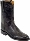 Mens Lucchese Classics Black Smooth Ostrich Custom Hand-Made Roper Boots L3137