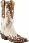 Mens Lucchese Classics Bone Goat with Cheyenne Design Hand-Tooled Design Custom Hand-Made Leather Boots L1673