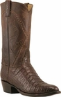 Mens Lucchese Classics Chocolate Silk Caiman Crocodile Belly Custom Hand-Made Cowboy Boots L1397