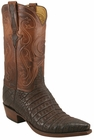 Mens Lucchese Classics Cigar Burnished Sueded Caiman Crocodile Belly Custom Hand-Made Cowboy Boots L1363