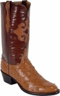 Mens Lucchese Classics Cognac Full Quill Ostrich Custom Hand-Made Cowboy Boots L1188