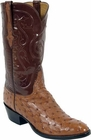 Mens Lucchese Classics Cognac Full Quill Ostrich Custom Hand-Made Cowboy Boots L1192