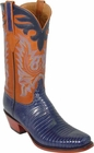 Mens Lucchese Classics Navy Blue Lizard Custom Hand-Made Cowboy Boots L1290