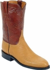 Mens Lucchese Classics Saddle Tan Smooth Ostrich Custom Hand-Made Roper Boots L3141