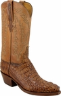 Mens Lucchese Classics Tan Burnished Caiman Crocodile Head Custom Hand-Made Cowboy Boots L1331