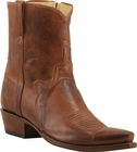 Mens Lucchese Classics Tan Burnished Ranch Hand Custom Hand-Made Side Zip Pony Boots F5517