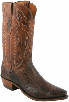 "Men's Lucchese ""Driscoll"" Chocolate Burnished Ostrich Leg Leather Boots N1119"