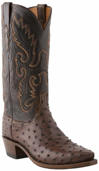 "Men's Lucchese ""Chisum"" Sienna & Chocolate Pin Ostrich Leather Boots N1132"