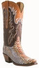 12� Ladies Lucchese Classics Rust Mallard Python Chocolate / Cognac Ranch Hand with Coolidge with Leaves Stitch Design L4155