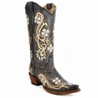 *NEW* Circle G by Corral Women's Distressed Black with Floral Embroidery Boot - L5175