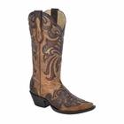 *NEW* Corral Women's Antique Saddle / Brown Overlay & Studs Boot - G1280