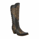 *NEW* Corral Women's Black - Bone Inlay Back Straps Boot - A3107