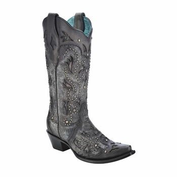 *NEW* Corral Women's Black Embossed & Studs Boot - C3043