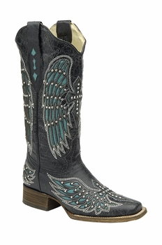 *NEW* Corral Women's Black - Turquoise Wing & Cross With Studs & Crystals Boot - A1142