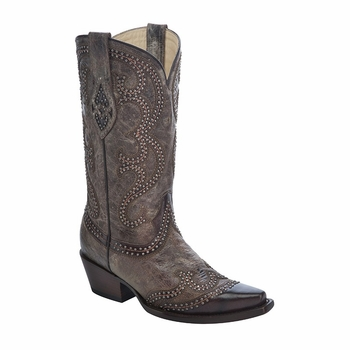 *NEW* Corral Women's Brown / Chocolate Studded Overlay Boot - G1267