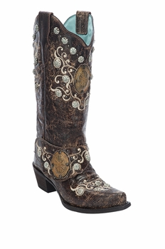 *NEW* Corral Women's Brown Concho & Side Harness Boot - E1015