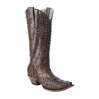 *NEW* Corral Women's Cognac / Brown Studded & Woven Details Boot - C3004