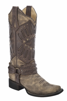 *NEW* Corral Women's Distressed Brown Mask & Harness Boot - R1374