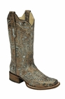 *NEW* Corral Women's Metallic Bronze / Turquoise Glitter Butterfly Boot - A2955