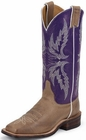 Justin Ladies Bent Rail Series Tan Vintage And Purple Cowgirl Boots BRL337