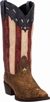 """*NEW* Laredo Ladies """"Keyes"""" Stars & Stripes Leather Boots - Order Now For July 4th!"""