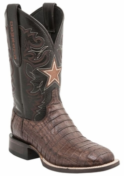 """*NEW* Lucchese Men's """"Dominic"""" Sienna Ultra Belly Caiman Tail Horseman Boot M1045"""