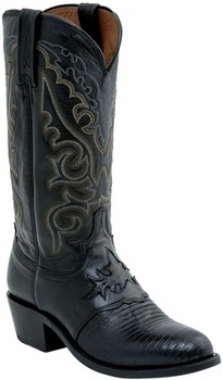 "*NEW* Lucchese Men's ""Silas"" Black Lizard Leather Boot M2900"