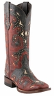 Lucchese Since 1883 Red and Grey Oklahoma Calf Studded Scarlett Cowgirl Boots M5810